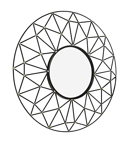 Amazon Com Offex 35 Round Geometric Frame Decorative Mirror With
