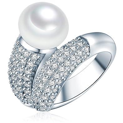 Bague Perles de culture d'eau douce - Argent sterling 925 et oxyde de zirconium
