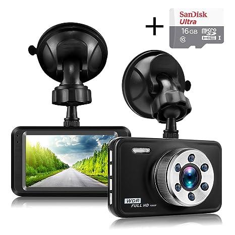 Senwow Cámara de Coche Dash Cam (Con tarjeta SD de 16GB ...