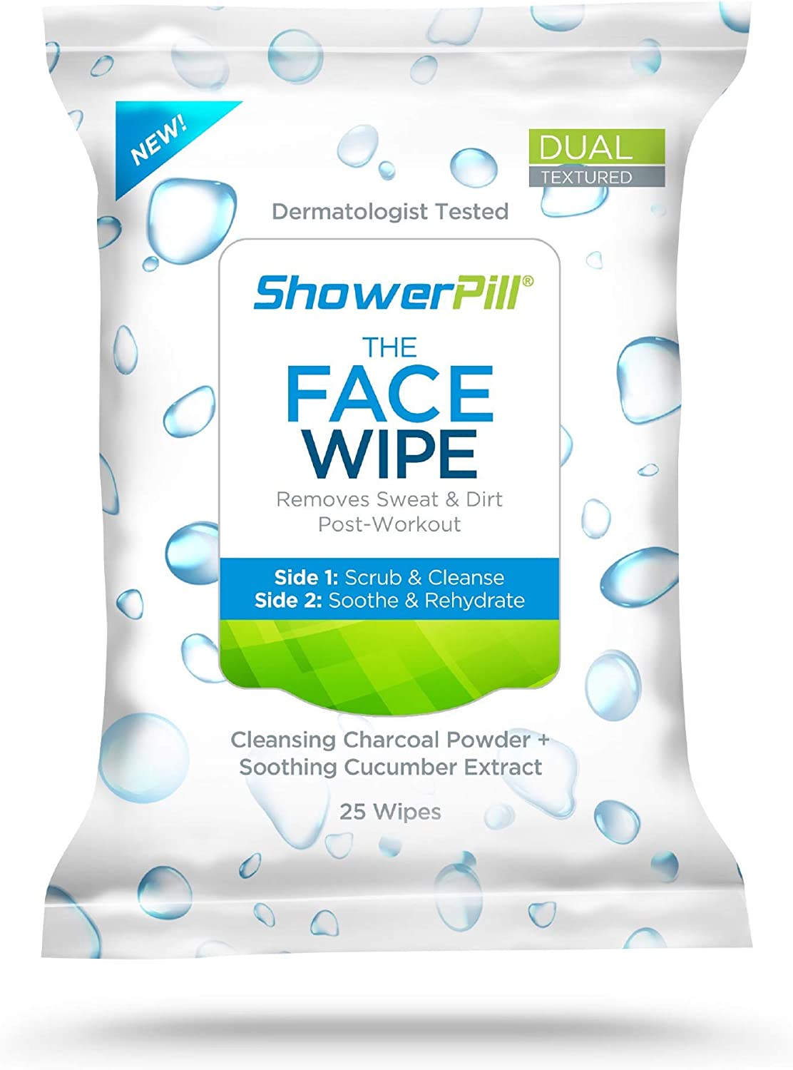 The Face Wipe by ShowerPill - Dual-Textured Cleansing Cloth with Charcoal and Cucumber Formulation - 50 Wipes