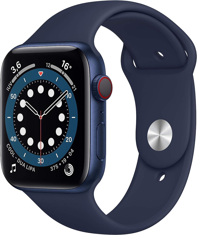 AppleWatch Series6 (GPS+Cellular, 44 mm) Caja de aluminio en azul - Correa deportiva azul marino intenso