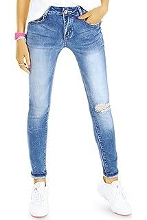 85f42d587926c0 bestyledberlin Damen SkinnyJeans, Basic Röhrenjeans, Enge Ripped Knee Jeans  j78f