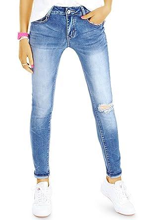 1149d30c0c5f bestyledberlin Damen SkinnyJeans, Basic Röhrenjeans, Enge Ripped Knee Jeans  j78f