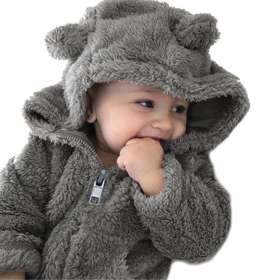 LOTUCY Baby Boy Girl Cartoon Bear Fleece Snowsuit Winter Warm Thick Hooded Coat Jacket Size 6-12 Months/Tag80 (Gray)