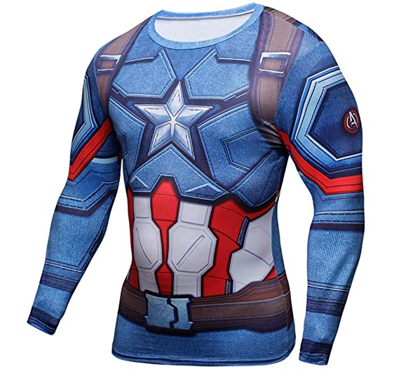 6debea2cc6811 1Bar Superhero Marvel Dri-fit Compression Long Sleeve Shirt Running  Training Workout Gym Shirt