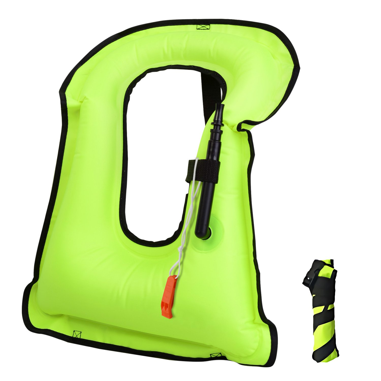LOBKIN Men/Women Snorkel Vest Adult Inflatable Snorkeling Jacket for Diving Swimming Safety Jacket (Green)