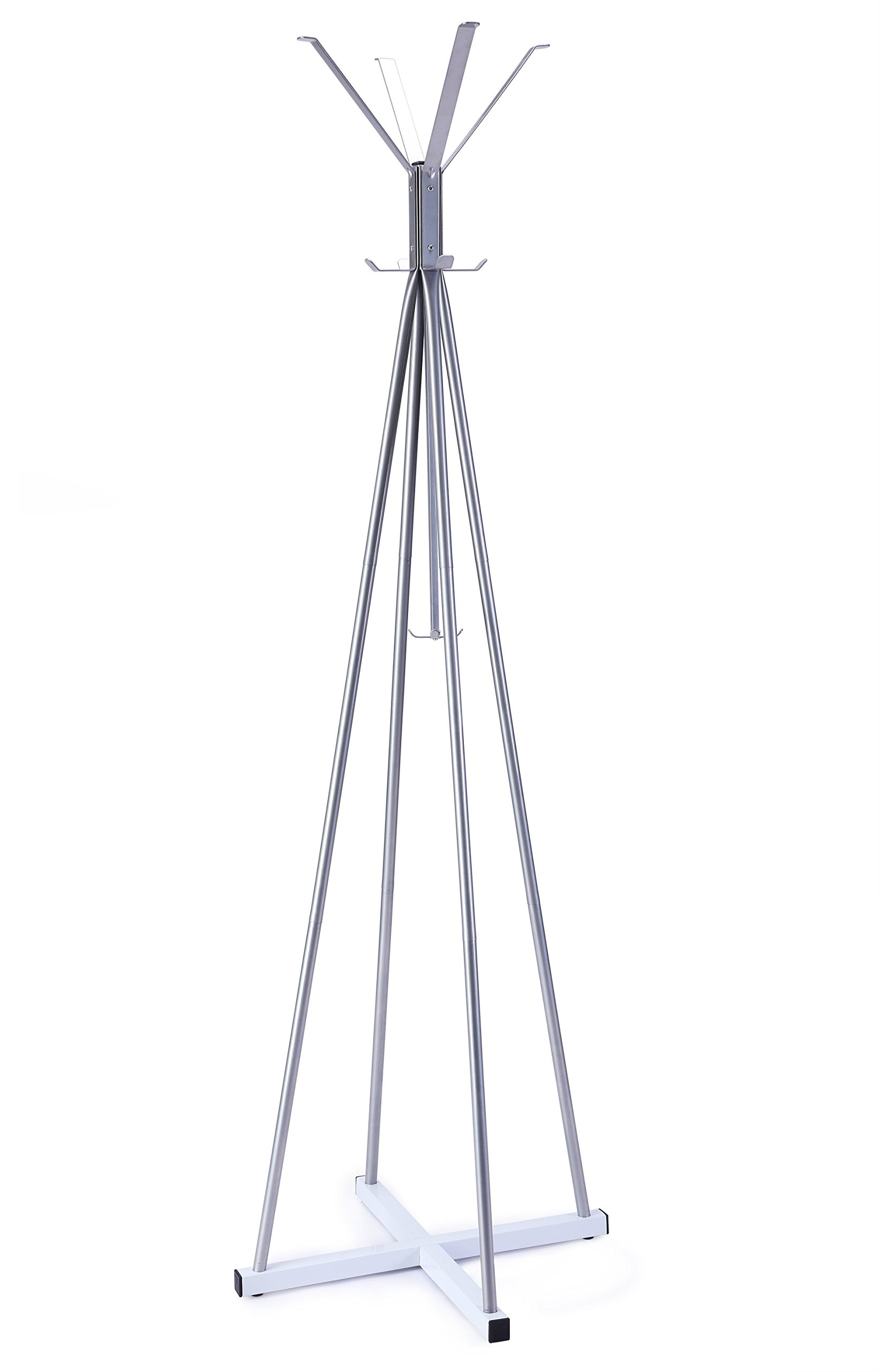 WILSHINE Coat Tree Rack Free Standing Metal Modern Entryway Hat Purse Jacket Rack Hanger Stand with 12 Hooks Cross Shaped Base, Silver/White - STURDY: 4 supporting tubes and cross shaped base form the metal frame of this standing coat rack, super sturdy, almost no chance of tipping over when loaded with garments MULTI-PURPOSE: This free standing coat tree has 12 hooks of different sizes, divided into 3 tiers, from top to bottom, providing a storage solution for coats, jackets, scarves, hats, purses, handbags, schoolbags of the whole family; the hooks are also distributed from central to peripheral, making it more easily to hang and grab garments when you are in a hurry MODERN: Combination of silver frame and white base, this coat hanger stand is artistic enough to decorate your entryway, bedroom or office while playing its role of organizing - entryway-furniture-decor, entryway-laundry-room, coat-racks - 71upg0drfpL -
