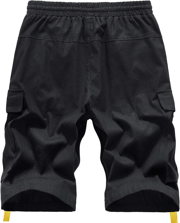 ELETOP Mens Cargo Shorts Summer Plain Work Shorts Lounge Casual Combat Shorts with Adjustable Drawstring