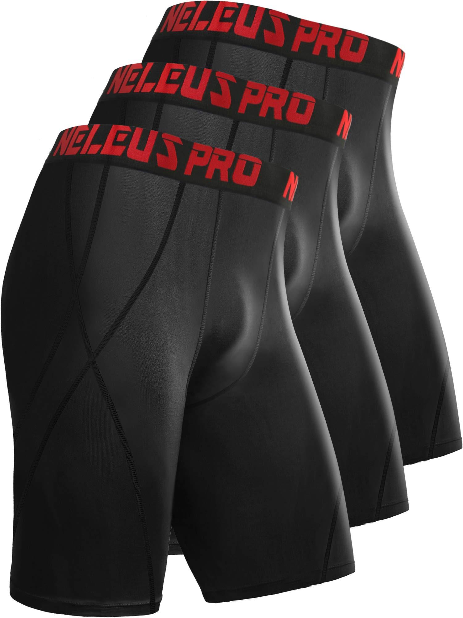 Neleus Men's 8 inch Compression Shorts,6010,3 Pack:Black,L,EU XL by Neleus