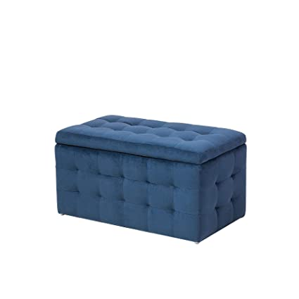 Pleasing Modern Tufted Ottoman Bedroom Bench Storage Chest Dark Blue Squirreltailoven Fun Painted Chair Ideas Images Squirreltailovenorg