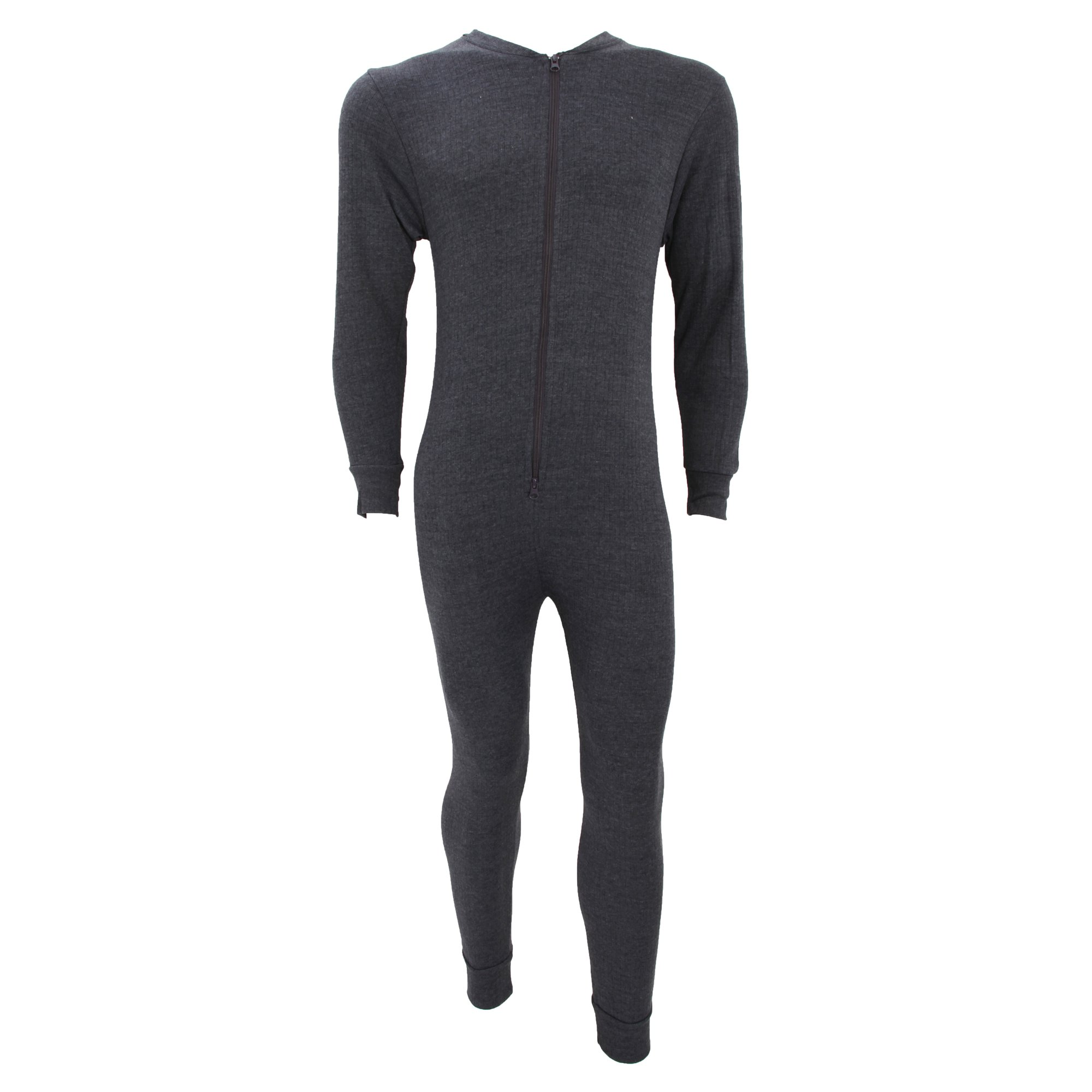 Floso Mens Thermal Underwear All in One Union Suit with Rear Flap (Standard Range) (Chest: 44-46 inch (X-Large)) (Charcoal) by Floso