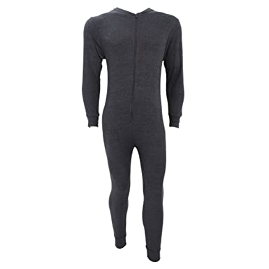 FLOSO Mens Thermal Underwear All In One Union Suit With Rear Flap ...