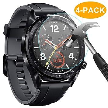 CAVN Huawei Watch GT Protector de Pantalla, [4 Packs] Impermeable Vidrio Templado Protector de Pantalla Protector de Pantalla Saver para Huawei Watch ...