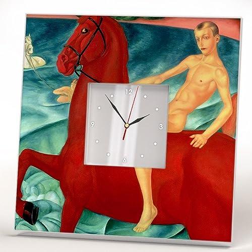 El Baño del Caballo Rojo Reloj Pared Enmarcado Espejo Decoración ...