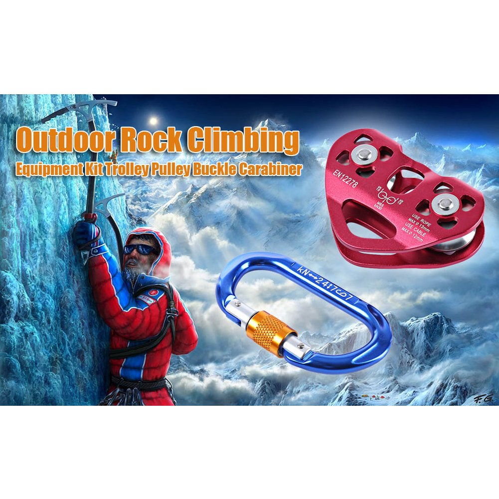 Zipline Cable Trolley Pulley Outdoor Rock Ice Climbing Rescue Aluminum Alloy Speed Pulley with D-shaped Mountaineering Buckle by Please Happy Shopping (Image #1)