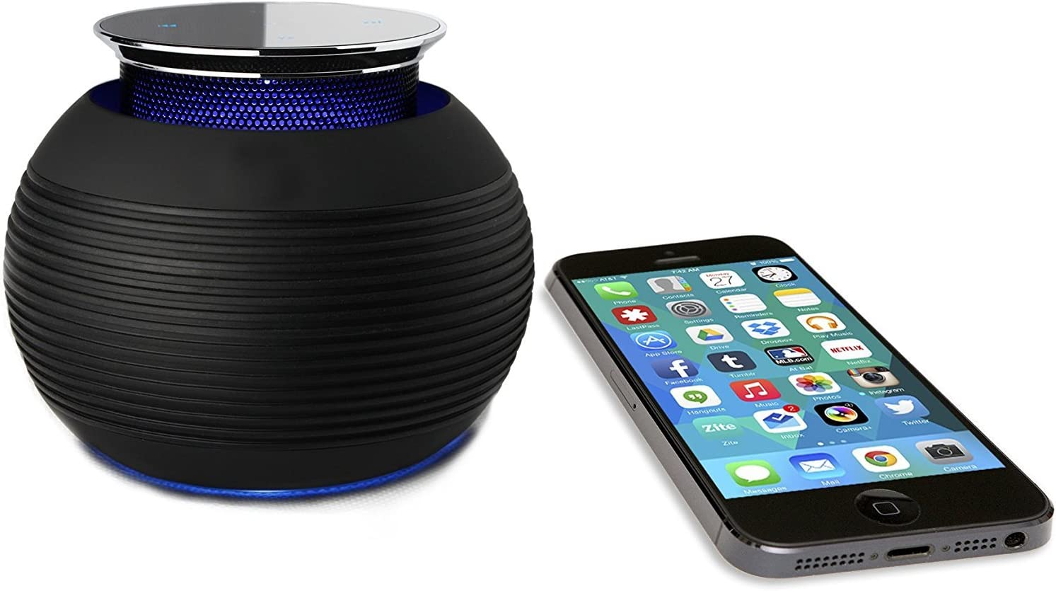 Wireless Bluetooth Speaker- BLKBOX POP MAX Hands Free Bluetooth Speaker - for iPhones, iPads, Androids, Samsung and All Phones, Tablets, Computers (Bumpin' Black)