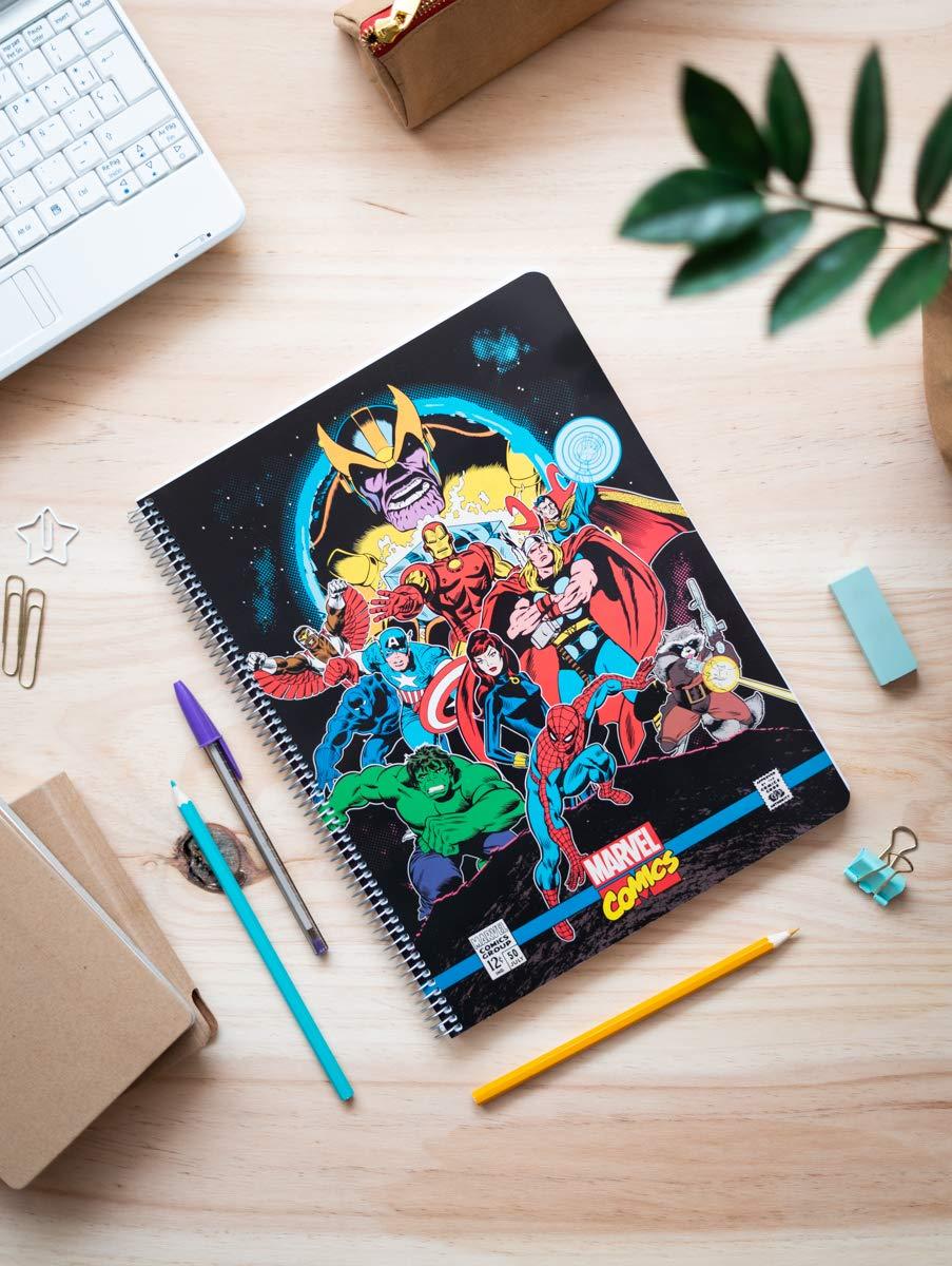 Cuaderno tapa polipropileno A4 5X5 microperforado Marvel comics avengers
