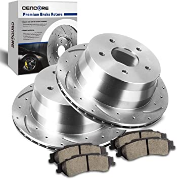 For Both Left and Right One Year Warranty 2015 for Ford Transit-150 Rear Premium Quality Cross Drilled and Slotted Coated Disc Brake Rotors And Ceramic Brake Pads - Stirling