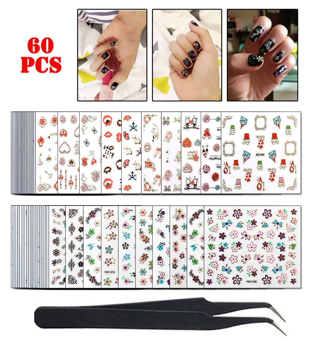 WOKOTO 60 Sheets Adhesive Nail Art Stickers Tips Gold Foil 3D Colorful Flower Nail Decals Design Manicure Decoration With 1Pc Tweezers by WOKOTO