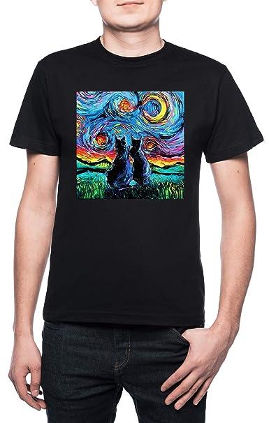 camioneta Gogh Gatos - Gato Hombre Camiseta Cuello Redondo Negro Manga Corta Todos Los Tamaños Mens Black T-Shirt: Amazon.es: Ropa y accesorios