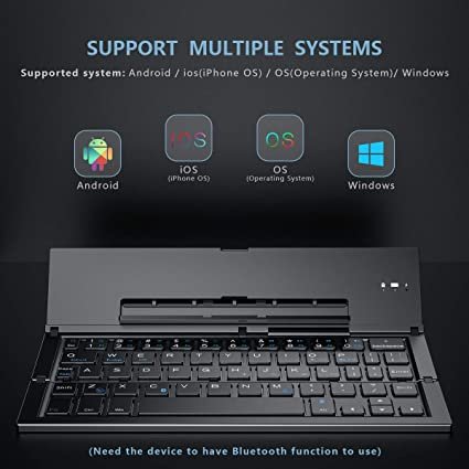 Built-in Holder Teclado inalambrico GK608 Ultra-Thin Foldable Bluetooth V3.0 Keyboard Support Android//iOS//Windows System Color : Grey Black