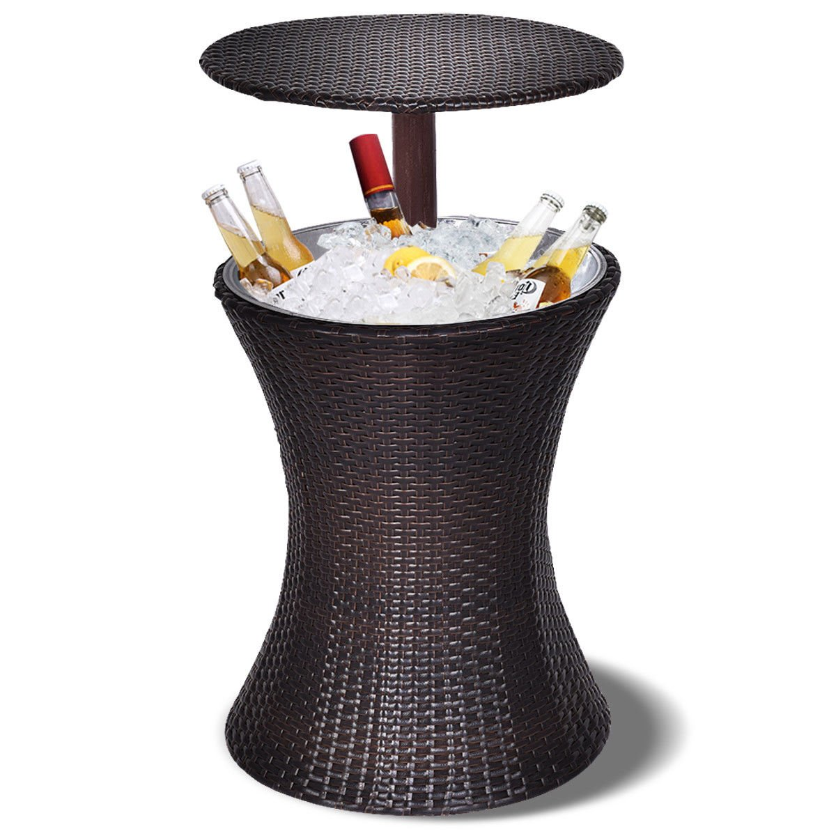 GJH One Table Party Rattan Ice Cooler Cool Bar Adjustable Outdoor Patio Deck Pool