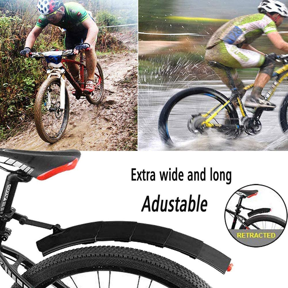 Adjustable Road Mountain Bike Bicycle Cycling Tire Front//Rear Mud Guards,Retractable Bicycle Fenders Set,for MTB Mountain Road Bike AYily Bike Mudguard