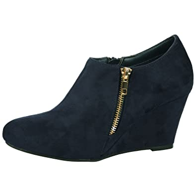 80ce04f446d Womens Ankle Boots - ByPublicDemand Nadia High Wedge He Navy Blue Faux  Suede 3 UK