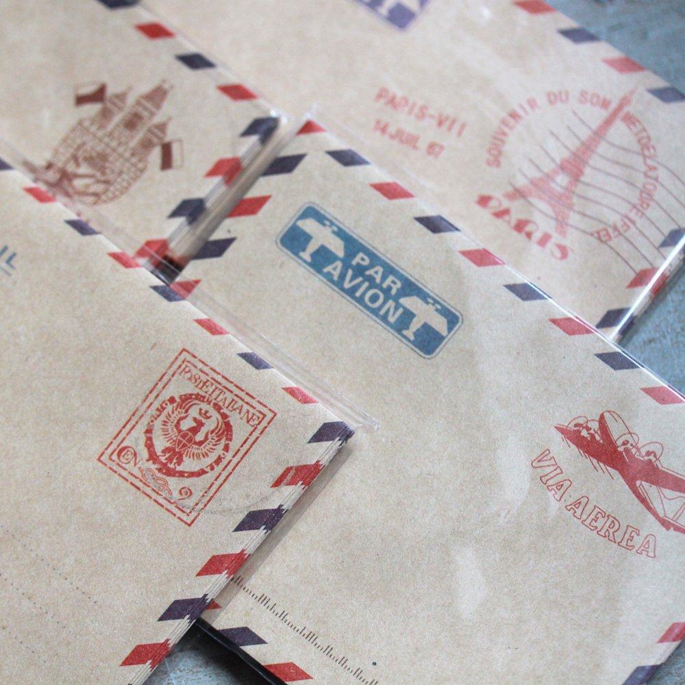 Mini Vintage Par Avion Airmail Envelopes x 40 - Favours / Scrapbooking Craft Luck and Luck