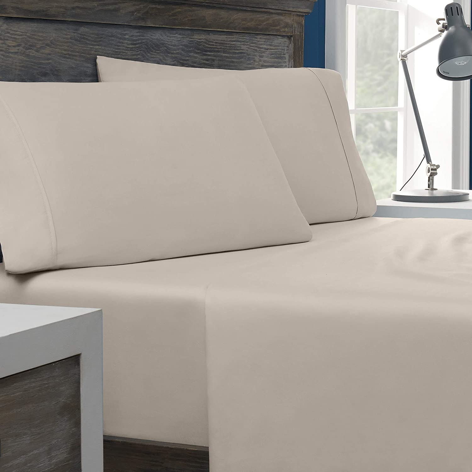 Columbia Tencel + Cotton Performance Sheet Set – Omni-Wick Moisture Wicking Stay Dry Technology – Naturally Soft, Cool, Breathable Temperature Regulating - King 4-Piece Sheet Set, Pumice