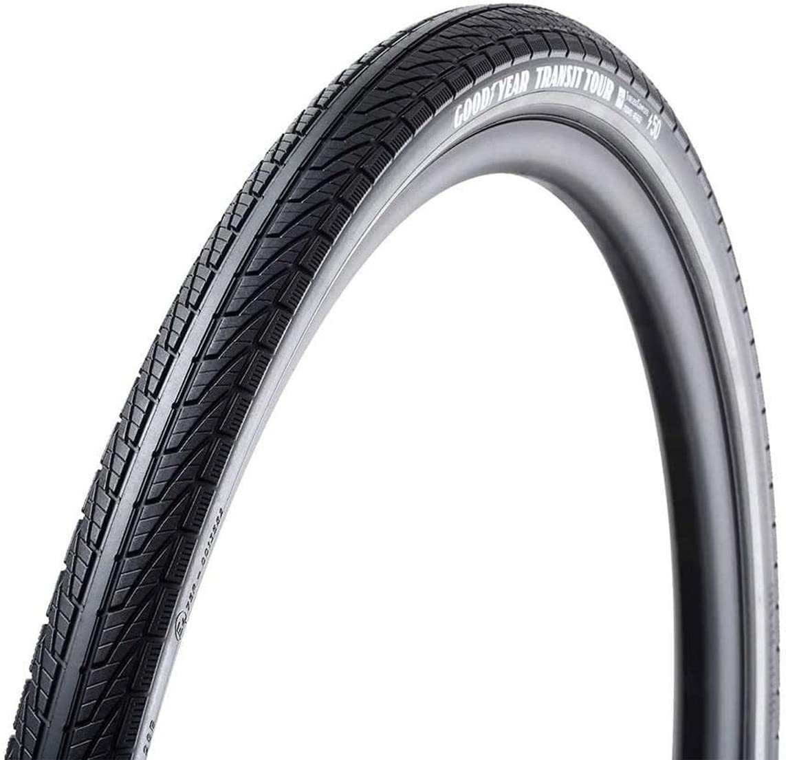 700x50C Black Clincher Goodyear Transit Tour Tire Dynamic:Silica4 S3: Shell 60TPI Wire