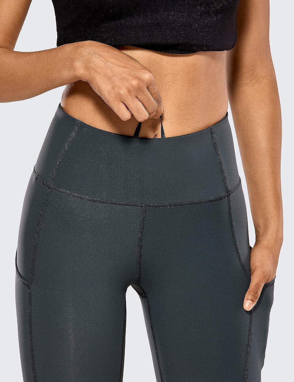 CRZ YOGA Donna Vita Alta Yoga Fitness Spandex Palestra Pantaloni Sportivi Leggins con Tasche-63cm