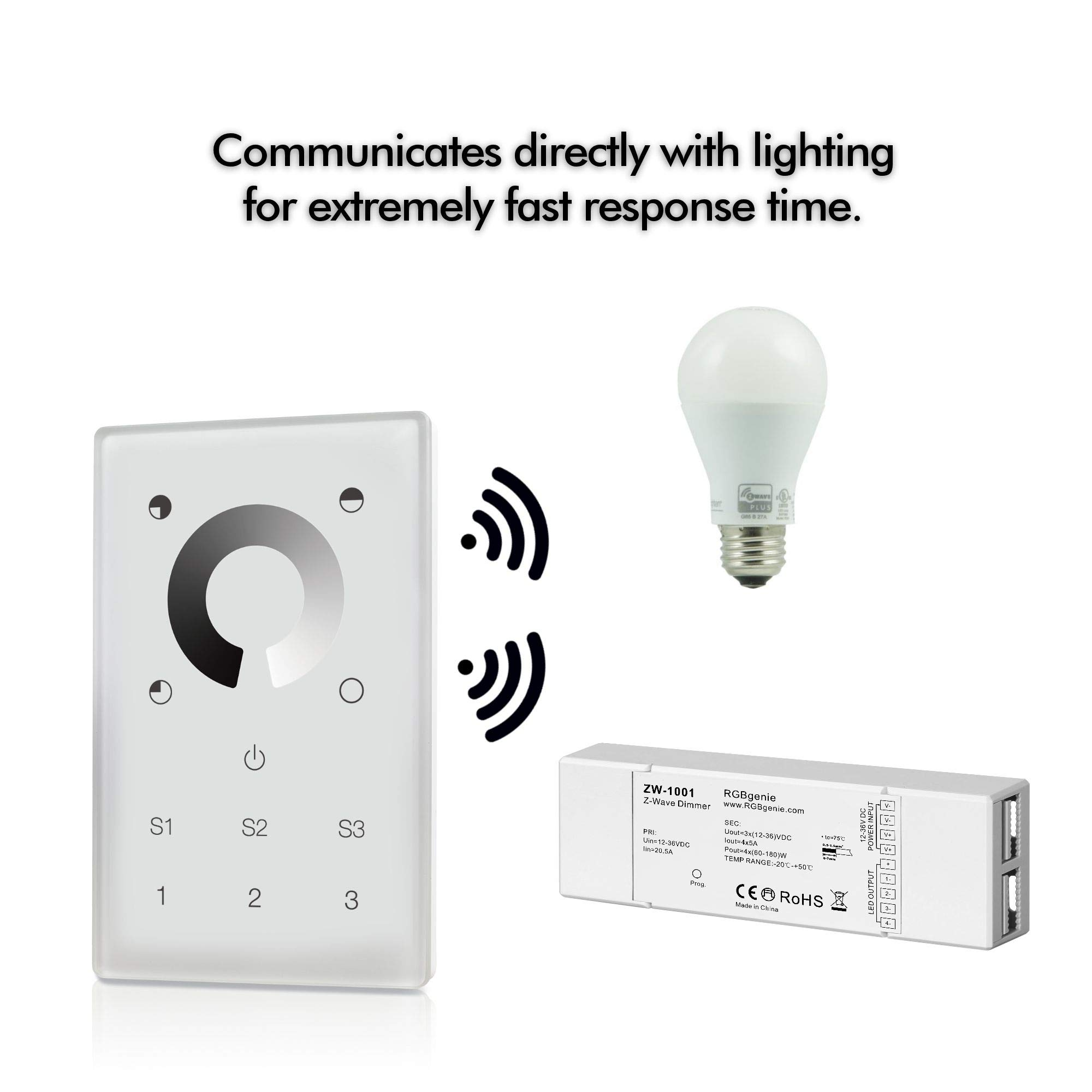 Z-Wave Touch Panel Controller and Dimmer with Built-in Repeater. Can control up to 12 Z-Wave strip lights or bulbs. Single Color, 3 Zone, 3 Scene recall, 110v input. RGBgenie ZW-3001 (white) by RGBgenie (Image #6)