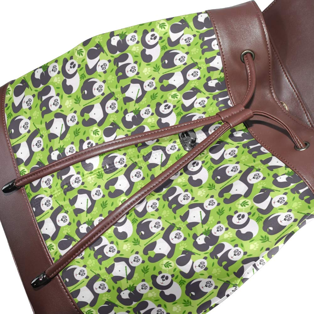 Leather Panda With Bamboo Green Backpack Daypack Bag Women