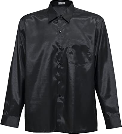 Camisa para hombre de manga larga de seda tailandesa, negra, negro, large
