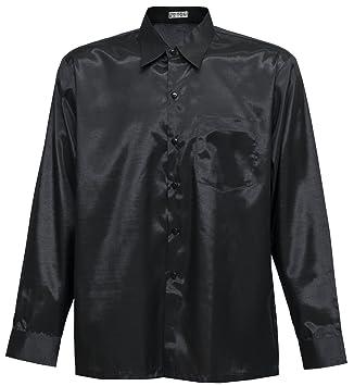 Camisa para hombre de manga larga de seda tailandesa, negra, negro, XL: Amazon.es: Hogar