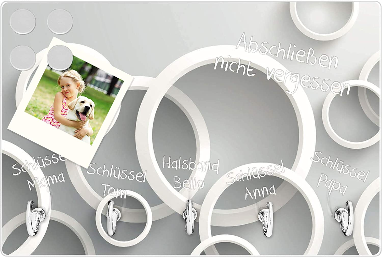 beschreibbar und magnetisch Schl/üsselleiste mit 5 Haken Motiv Wei/ße Ringe banjado Schl/üsselbrett aus Glas Schl/üsselboard 30cm x 20cm