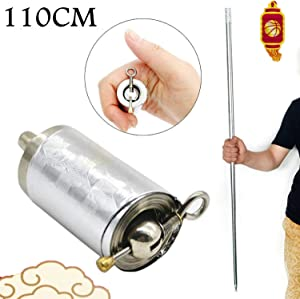 ZWIFEJIANQ Magic Pocket Staff Portable Martial Arts Metal Staff 110CM 150CM (Silver, 110cm)
