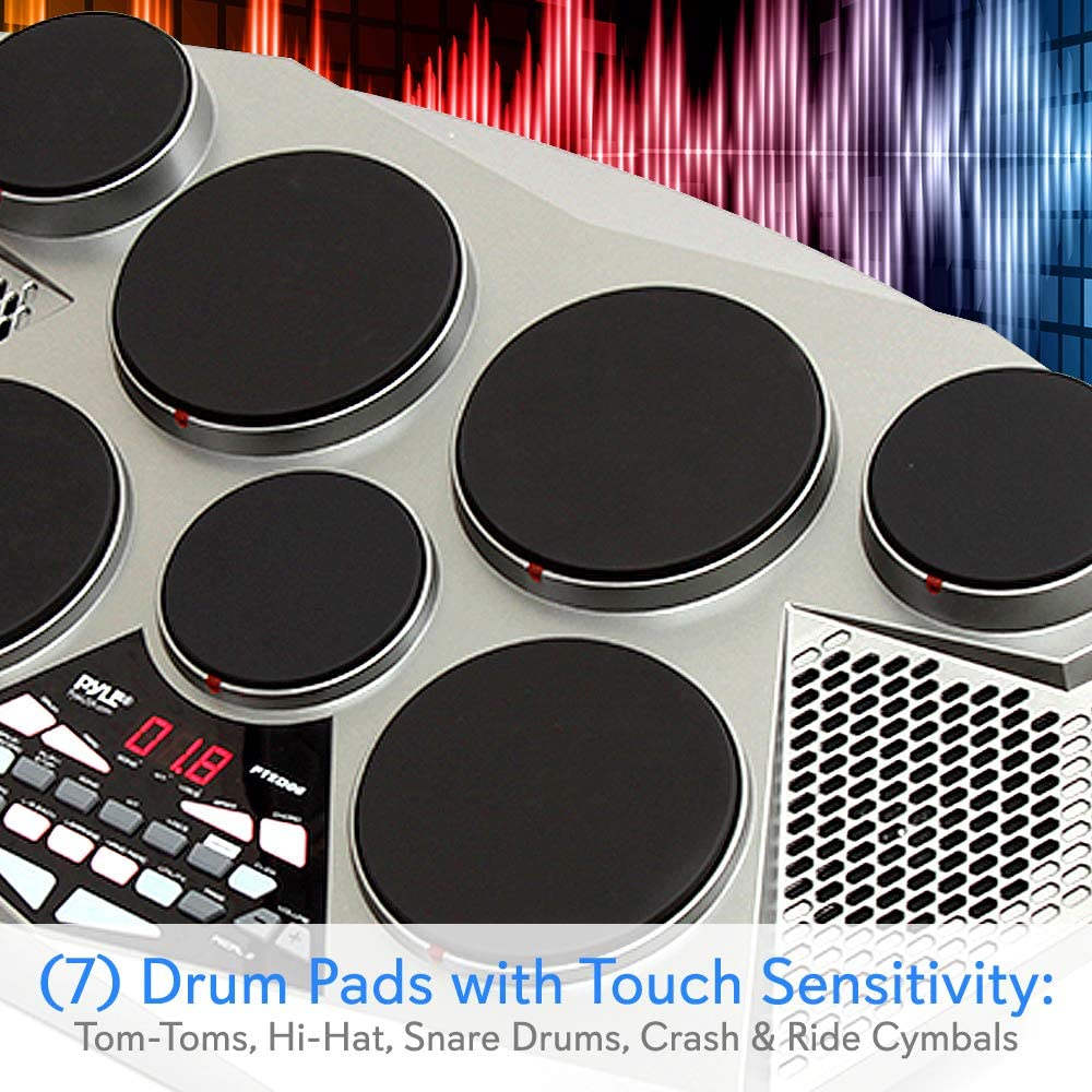 7 Drum Pads Pyle Pted06 Electronic Tabletop