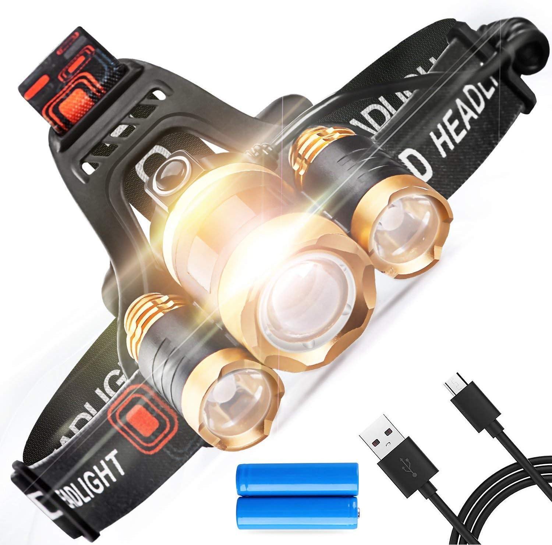 Rechargeable USB Tête Torche Running Torches coureurs Super Bright étanche NEUF