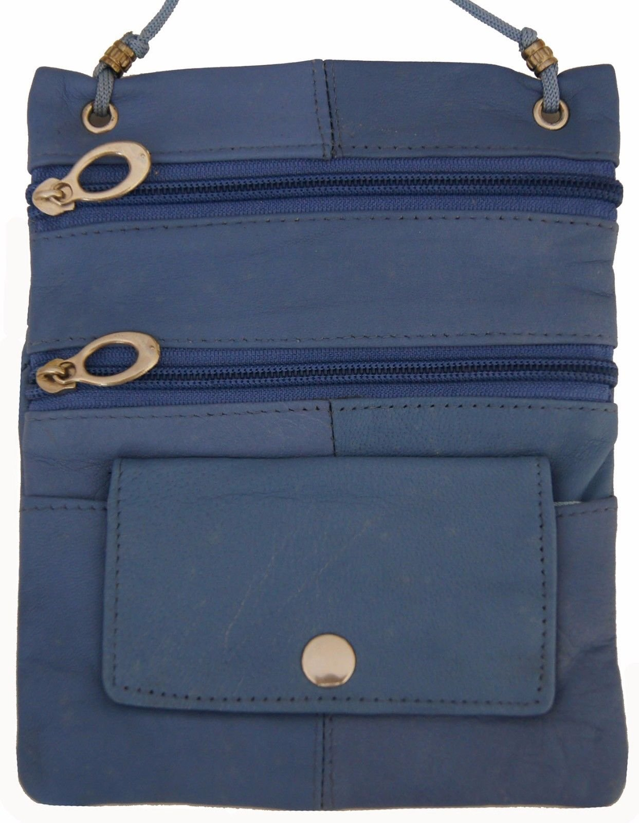 Baby Blue Genuine Leather Passport Id Documents Holder Neck Travel Pouch Bag