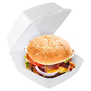 Stock Your Home 6 x 6 Clamshell Takeout Box (50 Count) - Foam Containers for Food - Small to Go Containers - Insulated Styrofoam Containers for Food, Sandwiches, Side Salads, Pasta, Delis, Cafes