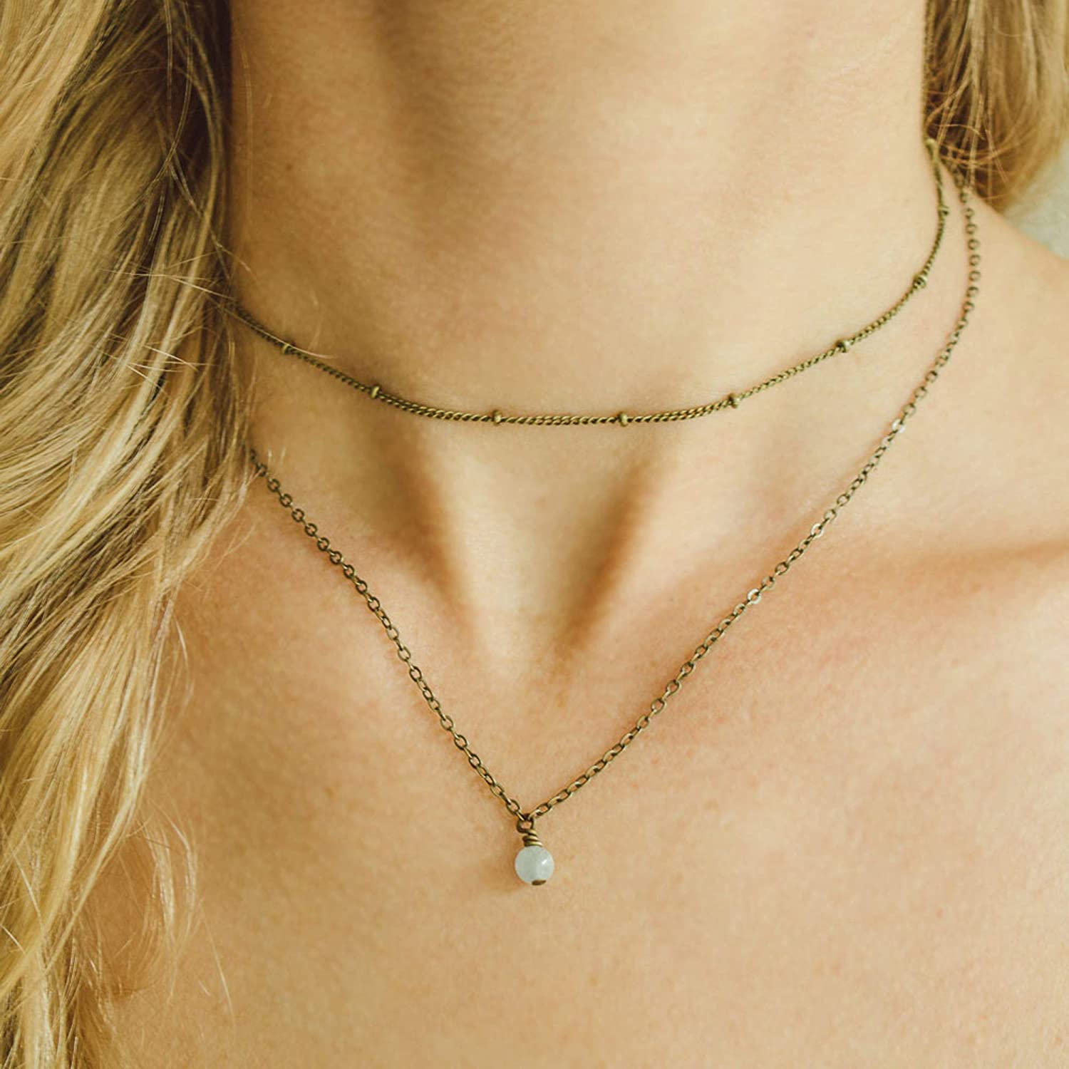 Leather Necklace March Birthstone Natural Blue Aquamarine Leather Choker Adjustable Leather Choker Necklace