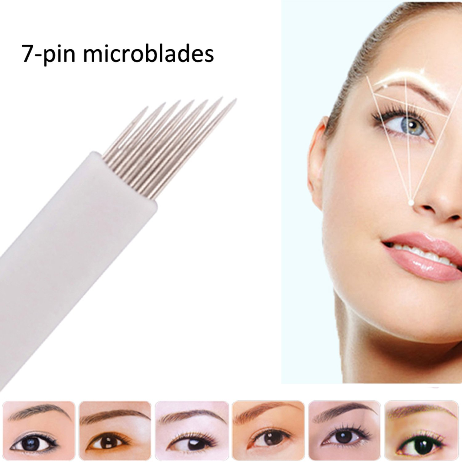 Microblading Needles e-Life Eyebrow Disposable Micro Blades Professional Eyebrow Microblading Tattoo Needles/Manual Microblades for Eyebrow Permanent Tattoo Makeup, 50PCS/Pack (12-pin) Real Vision