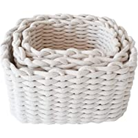 Set of 3 Cotton Rope Nesting Baskets in 3 Sizes for Bedroom, Clothes & Wardrobe Organisation, Home Decor, Nursery & Toys…