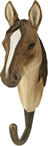 Wildlife Garden Hand-Carved Arabian Horse Hook, Sturdy Indoor/Outdoor Wood Wall Hook with Artisanal Life-Like Figurine, Easy-to-Install, Designed in Sweden