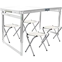 FrenzyBird 4-Person Folding Picnic Table with 4 Chairs, Height Adjustable,Portable and Lightweight, for Outdoor,Camping,Picnic,BBQ,Party and Dining