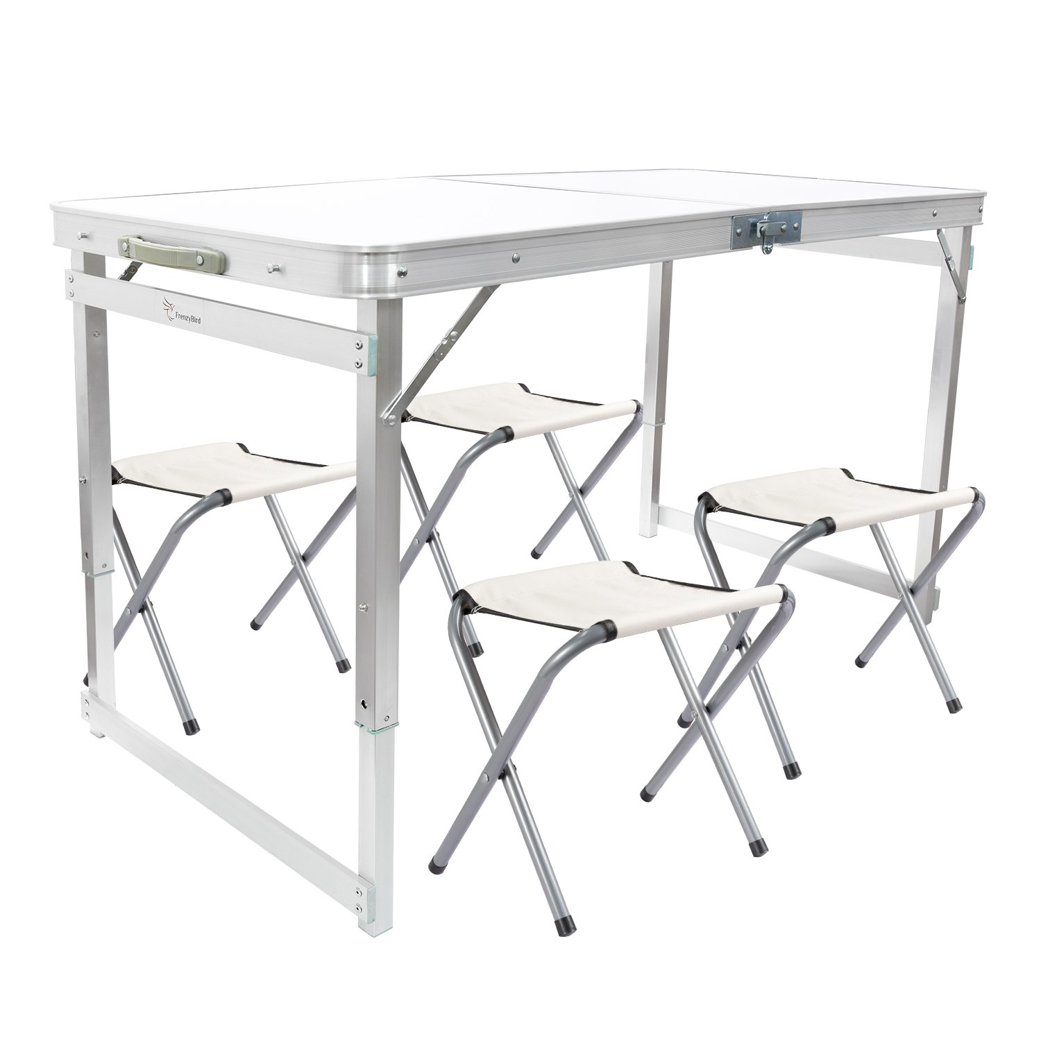 FrenzyBird 4-person Folding Picnic Table with 4 Chairs, Height Adjustable,Portable and Lightweight,for Outdoor,Camping,Picnic,BBQ,Party and Dining B07C89NX2J