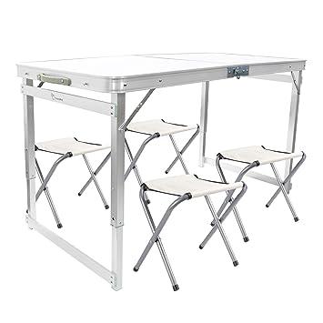 FranczyBird Mesa de Picnic Plegable con 4 sillas, Altura ...