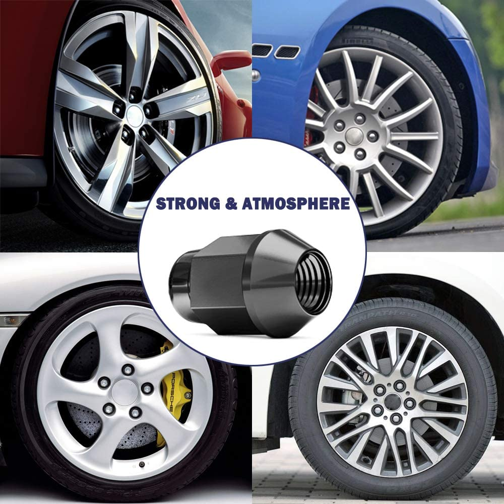 M12X1.5 Thread 3//4 Hex 60 Degree Conical Seat 20 PCS M12x1.5 Wheel Lug Nuts 1.4 inch Tall Acorn Bulge After-Market Lug Nut Set Black Chrome Finish